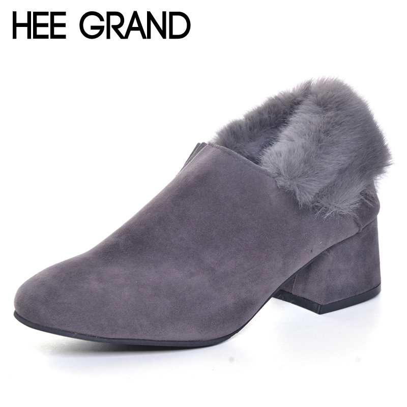 HEE GRAND Faux Fur Women Ankle Boots 2017 Winter Suede High Heels Boots Ladies Fashion Gladiator Round toe Shoes Woman XWX5953 hee grand sweet faux fur slippers fashion flats shoes woman slip on bowtie winter warm women shoes 4 colors size 36 41 xwt966
