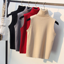 Stylish Quality Knitted Women Sweater Korean Spring Autumn Turtleneck Sleeveless Vest Outwear Female Top Pullover Pull Femme 305