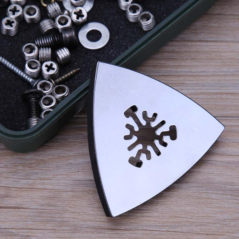 1pc 80mm Triangular Sanding Pad Oscillating Multi Tools Stainless Steel Rotary Tools For Fein Multi Master Dremel Power Tool