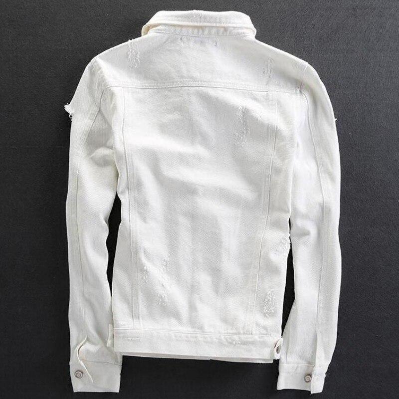 4739ac1a70471 2019 Qualité Déchiré Coton Trou Jeans Fit Unique Poitrine Blanc White Hommes  Homme Classique Manteaux blue black Moto Slim Supérieure Veste rwxvrqnYgC