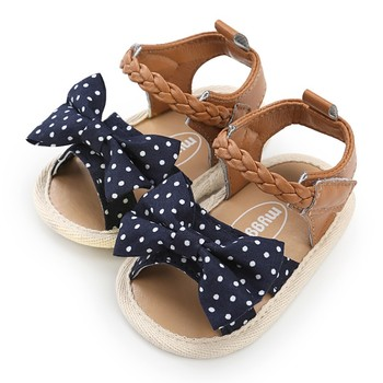 Baby Girl Sandals Summer Baby Girl Shoes  Cotton Canvas Dotted Bow Baby Girl Sandals Newborn Baby Shoes Playtoday Beach Sandals 1