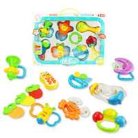 10pcs/set Cartoon Baby Rattle Soft Teether Babys Wrist Teeth Bite Bell Funny Toys Kids Bed Toy Gifts Baby Educational Toys
