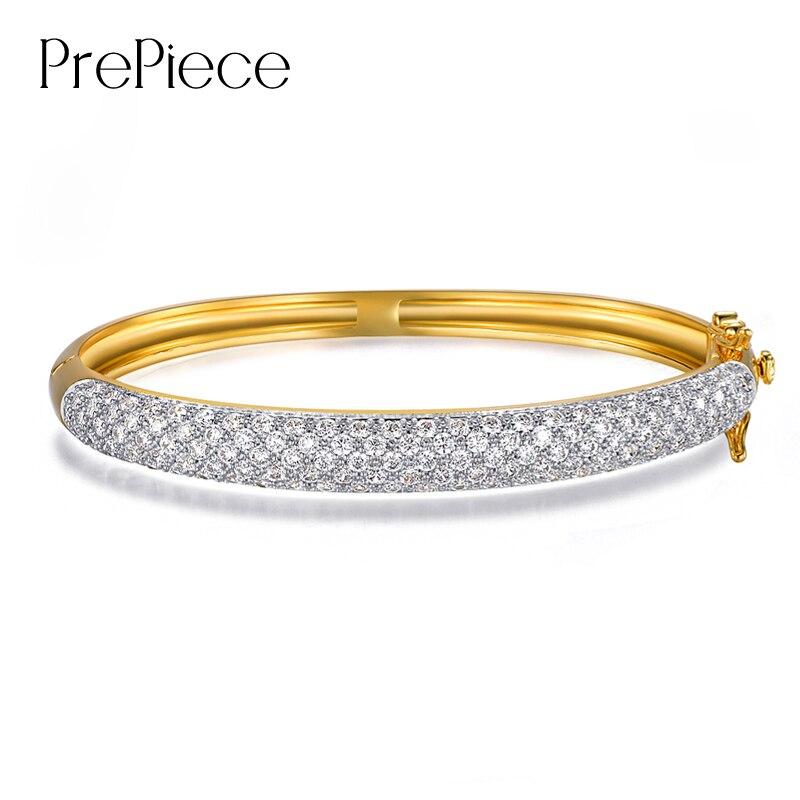 PrePiece Luxury Pave Setting Bangle Cubic Zircon Bracelet Fashion New Party Jewelry for Women Pulseras Mujer 2018 PUB0039 браслет на ногу pulseras tobillo bisuteria mujer tobilleras diy anklet