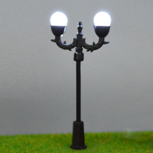 1;150 cool white LED Lighting miniature lamppost double-head scale model lamp for sale
