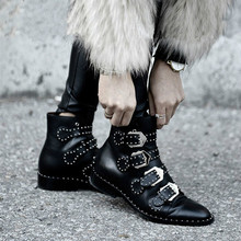 Rivets Faux Leather Booties Buckle Straps Thick Heel Black Ankle Women Boots Studded Decorated Woman Boots Motorcycle YASILAIYA cross straps belt buckle faux fur short boots