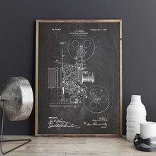 Proyección kinetoscopio, arte de la cámara fotográfica, cartel, decoración de pared, estampado vintage, blueprint, idea de regalo de película, decoraciones de película