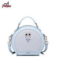 JUST STAR Women PU Leather Handbag Ladies Fashion Small Circular Tote Bag Female OWL Leisure Messenger