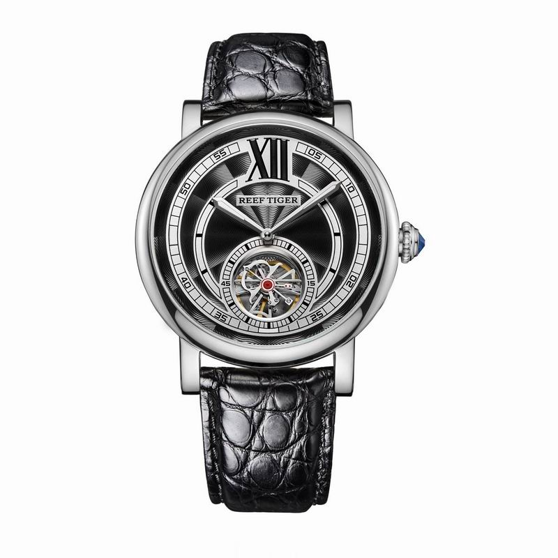 Reef Tiger/RT Designer Watches for Men Tourbillon Automatic Watches with Blue Crystal Crown And Alligator Strap RGA192 yn e3 rt ttl radio trigger speedlite transmitter as st e3 rt for canon 600ex rt new arrival