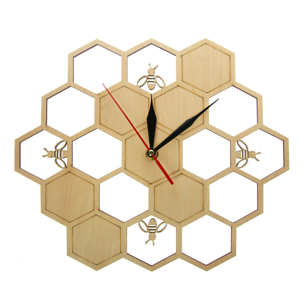 Bees And Honeycomb Natural Wooden Wall Clock Hexagon Wall Art Wood Bee Honey Contemporary Clock Watch Home Living Room Decor