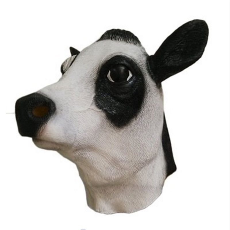 Realistic Novelty Halloween Animal Costume Party Latex Bull Cow Head Mask