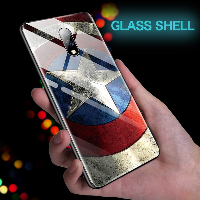 Marvel Iron Man Captain America Glass Phone Case For Oneplus 5 5T 6 6T 7 7Pro Avengers Batman Cover Coque Funda