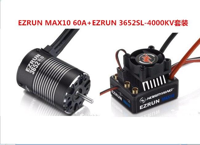 Hobbywing Combo MAX10 EZRUN 60A Impermeabile Regolatore di Velocità Brushless ESC + 3652SL G2 4000KV Motore per 1/10 RC Camion/auto F19284