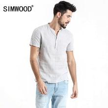 50e286741c9da SIMWOOD 2019 yazlık gömlek Erkekler Kısa Kollu 100% Saf Keten Artı Boyutu Rahat  Gömlek Marka Giyim Ücretsiz Nakliye 180035