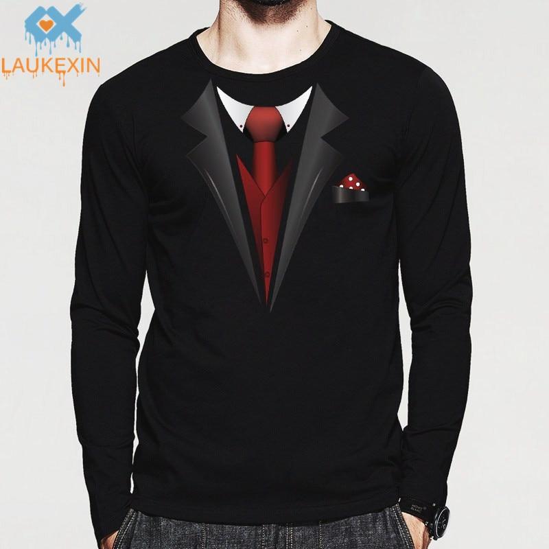 New Tuxedo Fancy Men T Shirt Print Stag Party Tux Longsleeve O Neck Man  Tshirt Top 5af1a4e5d