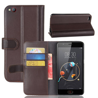 CYBORIS Genuine Wallet Case For ZTE Nubia M2 Lite Case Real Cow Leather Case For ZTE