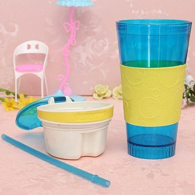 Plastic 2 in 1 Travel Cup Snack Drink Container Car Snack Tray 10x10x28cm