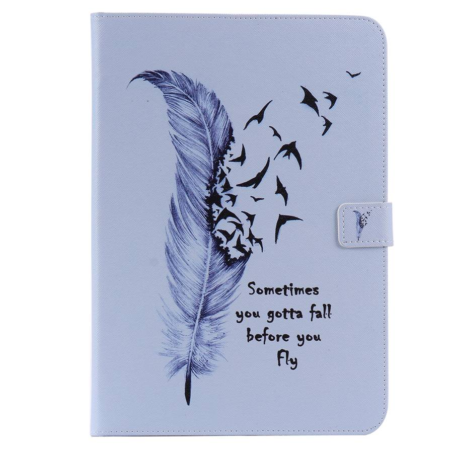 3D Feather Painted PU Leather Case For Samsung Galaxy Tab A 9.7 SM-T550 T555 P550 P555 9.7 Inch Tablet Protective Case+Film+Pen