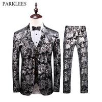Luxury Bronzing Floral Velvet Tuxedo Suit Men Wedding Groom 3 Piece Suits Men Slim Fit Dress Suits Party Stage Singer Clothes