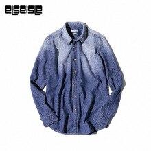 Vintage mens polka dot floral Denim shirt men dress jeans shirts Brand elseisle mens dress shirts