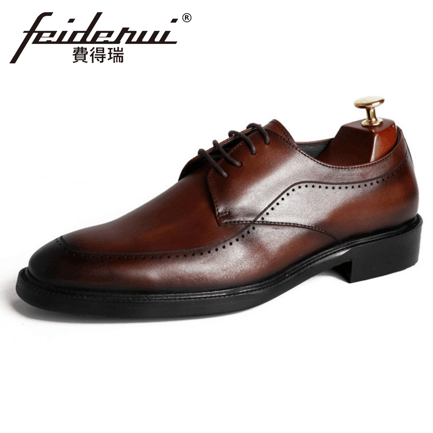 2018 New Vintage Genuine Leather Men's Carved Oxfords Round Toe Derby Man Handmade Formal Dress Wedding Brogue Shoes YMX448 krusdan british style vintage man brogue shoes genuine leather handmade oxfords round toe derby formal dress men s flats nk63