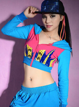 New Fashion hip hop women top dance female Jazz costume performance wear sexy stage clothing blue short outwear jacket