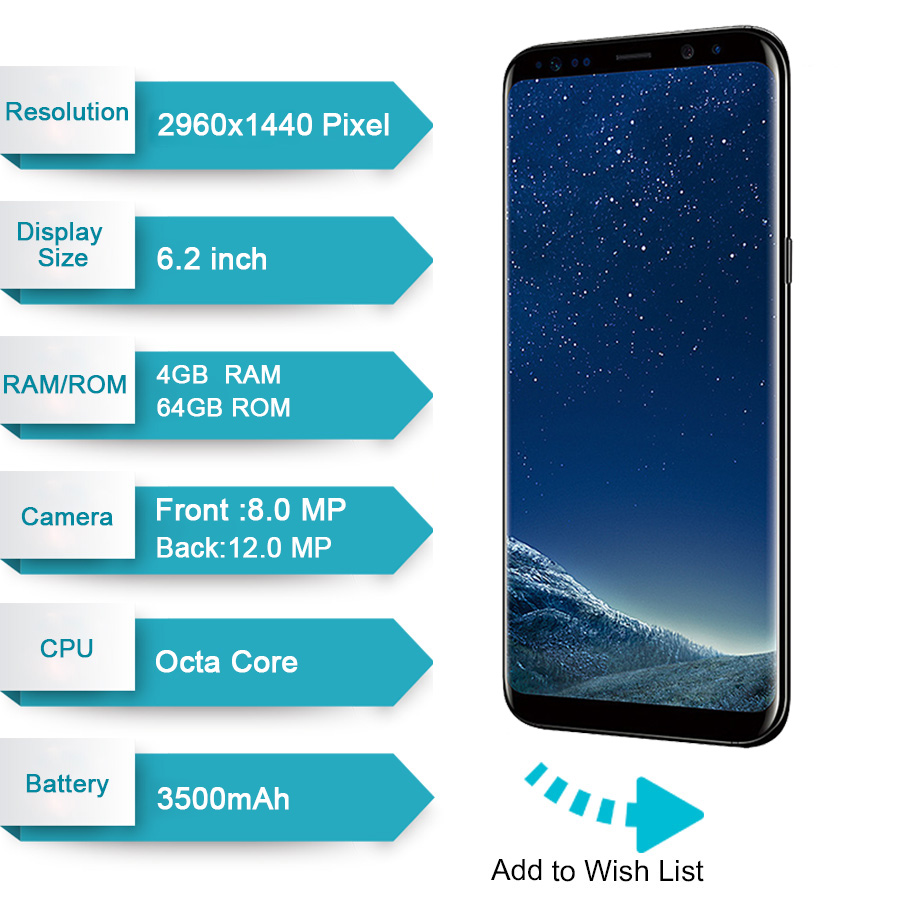 for whole family detailed images good looking Original Samsung Galaxy S8 Plus SM-G955F 4GB RAM 64GB ROM 6.2