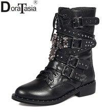 7d8df1f19f DoraTasia 2017 brand new tamanho grande 34-43 moda vaca ocidental botas  mulher ankle straps praça sapatos de salto mulher dedo d.