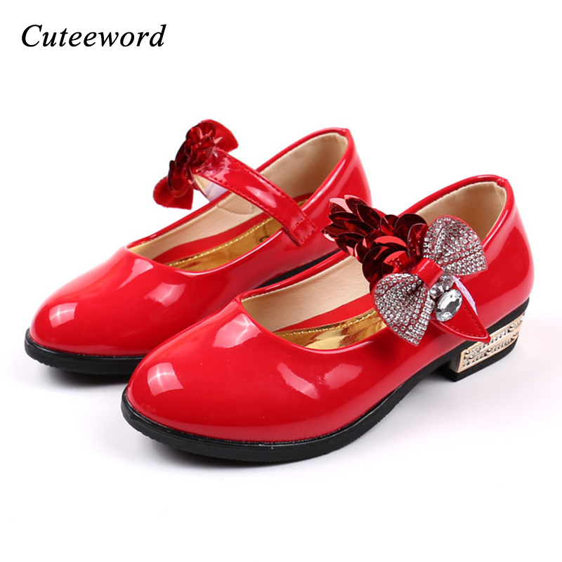Girls princess shoes children party wedding high heels 2018 Spring autumn fashion sequins bow-tie leather shoes students shoes