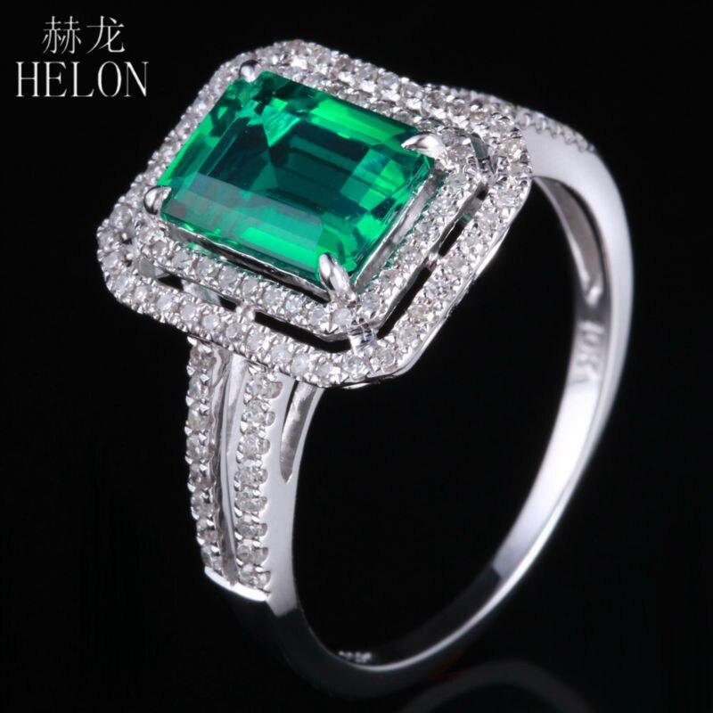 HELON Новинка! 5x7 мм форма подушки изумруд & Алмаз Винтаж обручальное кольцо Solid 14 K белое золото