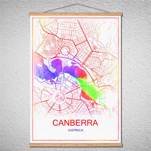 595ff39688 US $4.99 |Retro CANBERRA Customized Pattern city white map vintage retro  Poster Room Wall Art Crafts Sticker Bar Cafe Design With Frame-in Wall ...