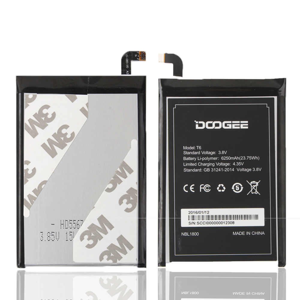 MATCHEA For DOOGEE T6 Battery 6250mAh 100 Original New Replacement accessory accumulators For DOOGEE T6 Smart Phone In stock in Mobile Phone Batteries from Cellphones Telecommunications