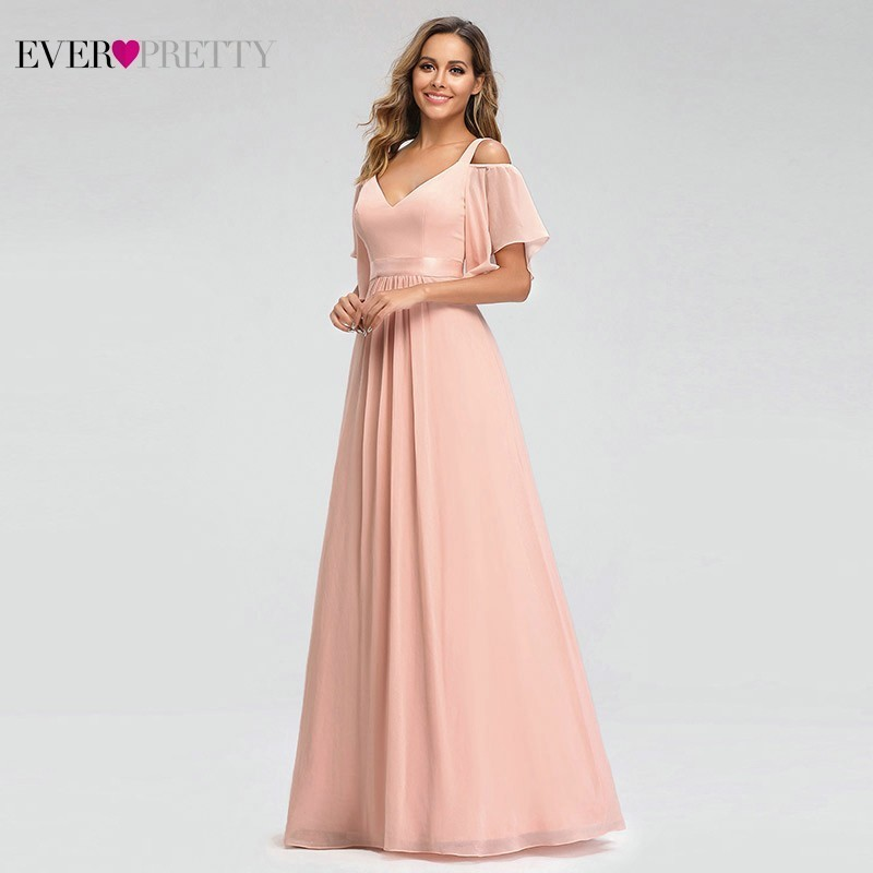 Image 3 - Ever Pretty Elegant Pink Evening Dresses Long A Line Off The Shoulder V Neck Sexy Formal Party Gowns EP07871PK Abendkleider 2019-in Evening Dresses from Weddings & Events