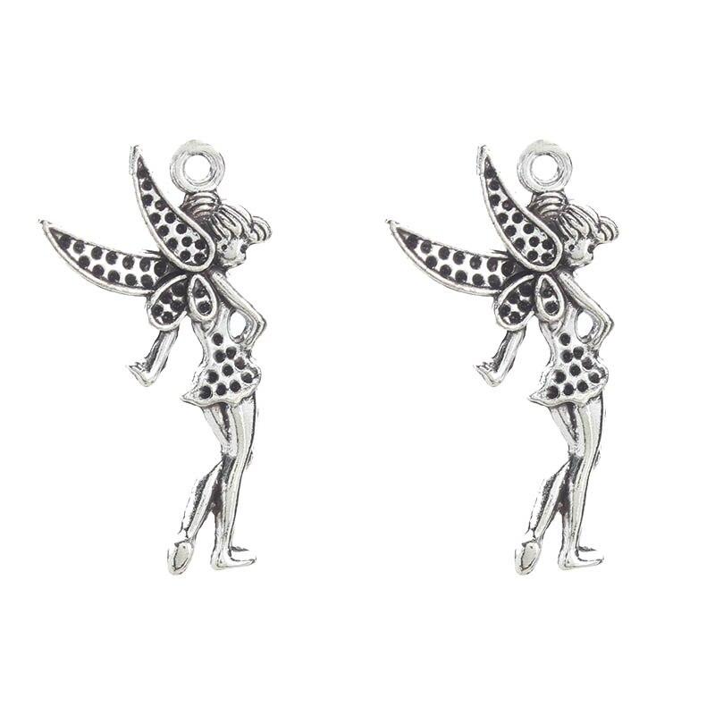Lucky Eye 10pcs/lot Flower Fairy Charms Tibetan Silver