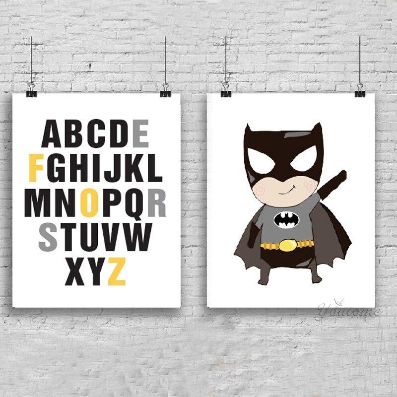 Lustige super hero alphabet, Alphabet kinderzimmer dekor, batman ...