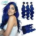 Novo Estilo Verão Azul Escuro Brasileiro Do Cabelo Humano 2/3/4 pçs/lote Obter um Livre 13*4 Lace Frontal Fechamento para Combinar Com o seu Pacote