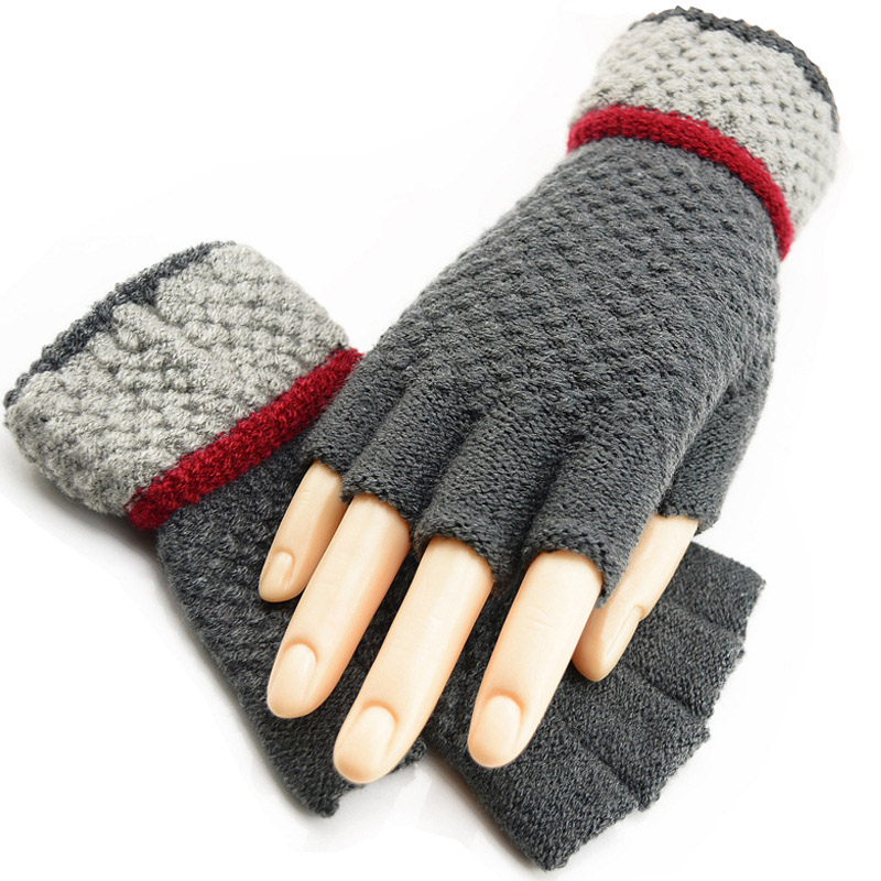 Autumn And Winter Men's / Women's Wool Knit Winter Warm Half Finger Fingerless Gloves Students Writing Work Hand Gloves A55