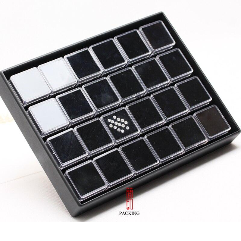 Image 2 - 24 pièces/plateau boîte de pierres précieuses Transparent en  plastique noir et blanc couleur diamant présentoir boîte de gemme ou  organisateur de pierres précieusesgemstone boxgem boxdisplay tray -