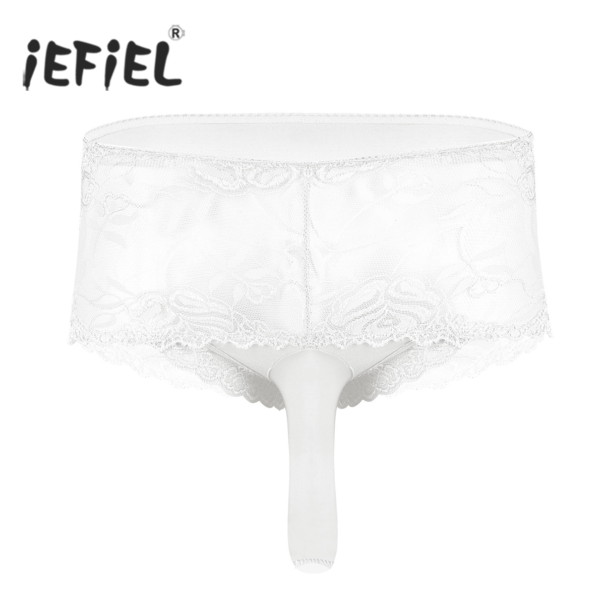Mens High Waisted See Though Sheer Ruffle Lace Open/Close Penis Gay Sissy Panties Bikini Briefs Stretch Sissy Triangle Underwear