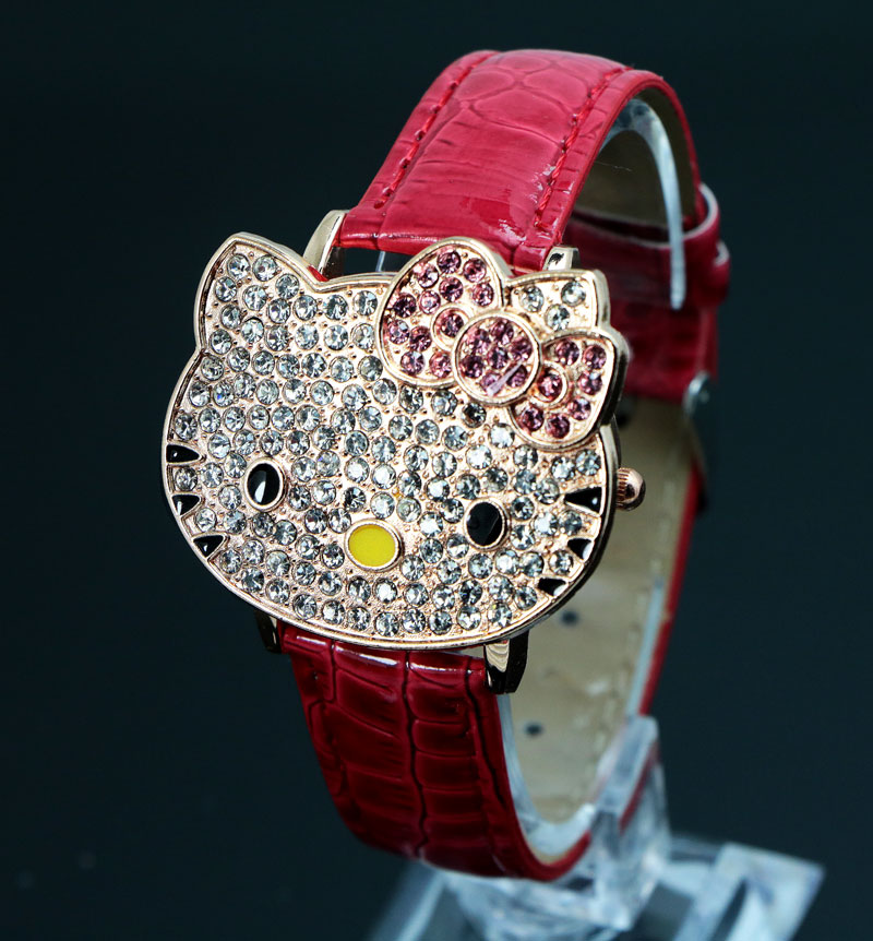 17e2ad1ad198 Hot Sales Lovely Hello Kitty Leather Watch Children Girls Women Fashion Crystal  Dress Quartz Wristwatch Relojes Mujer 048 27-in Children s Watches from ...