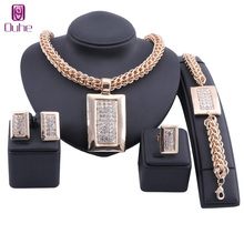 Bridal Gift Nigerian Wedding African Beads Jewelry Set Fashion Dubai Crystal Jewelry Set Costume Design Rectangle Necklace Sets nigerian wedding african beads jewelry set fashion pink 4 rows african costume coral necklace jewelry set free shipping cj109