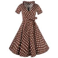 Sisjuly Women 2017 Vintage Party Dress Polka Dots Coffee1950s 60s Retro Dresses Turn Down Collar Bowknot