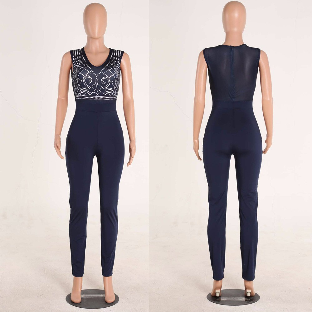 2017 New Summer Women Jumpsuit Bandage Black Bodysuit V-Neck Sleeveless Print Zipper Back Sexy Bodycon Jumpsuits And Rompers 21