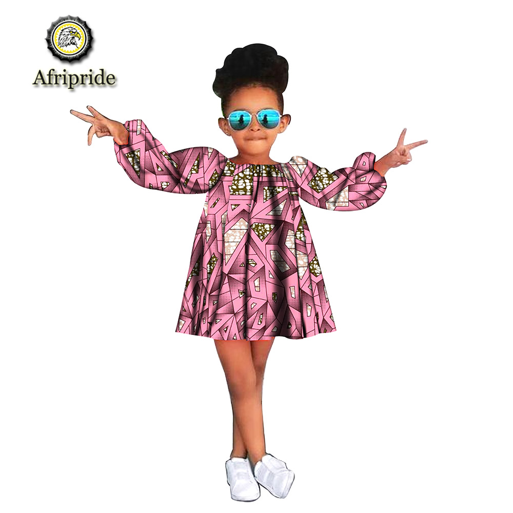2019 African Children Clothing Kids Dashiki Traditional Cotton Dresses Long Sleeve Lovely Mini Dress For Girl Prime S1940004