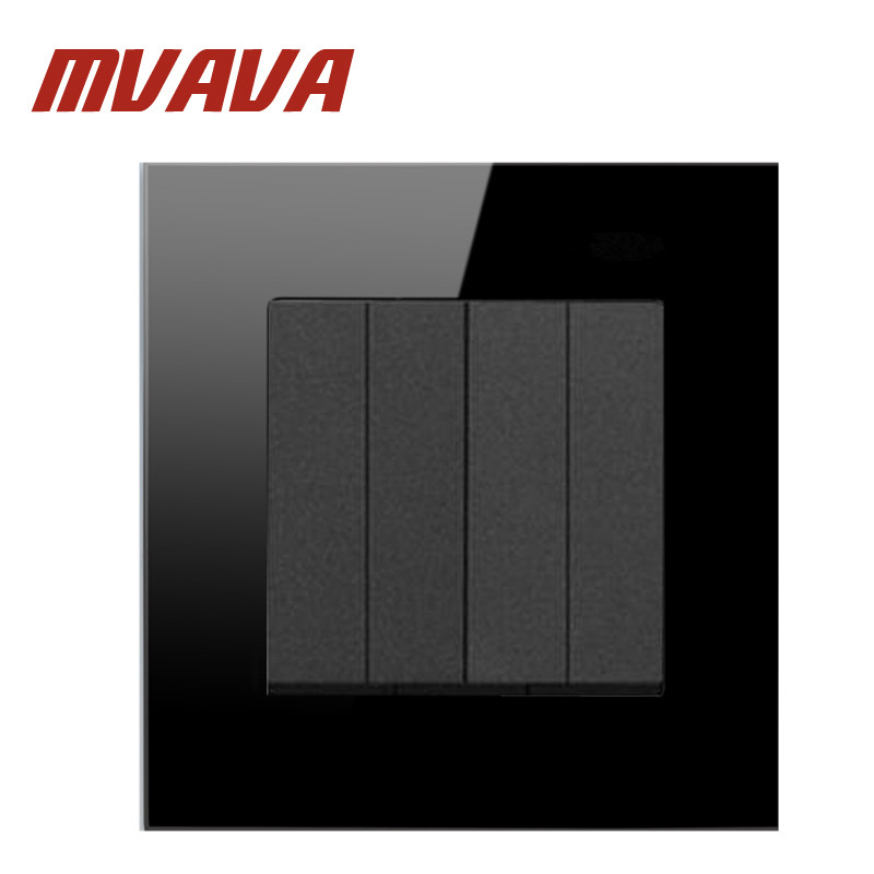 MVAVA 4 Gang 1 Way Electrical Wall Light Switch Luxury Decorative Black Mirror Panel AC 110~250V 16A Push Button Switch  mvava push button light wall switch 3 gang 1 way 16a 250v luxury white crystal glass panel factory direct sale free shipping
