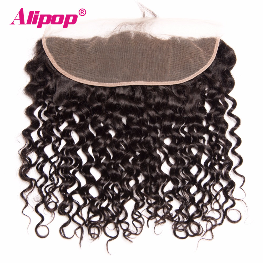 ALIPOP Peruvian Water Wave Lace Frontal Closure With Baby Hair 10 22 Pre Plucked Natural Hairline