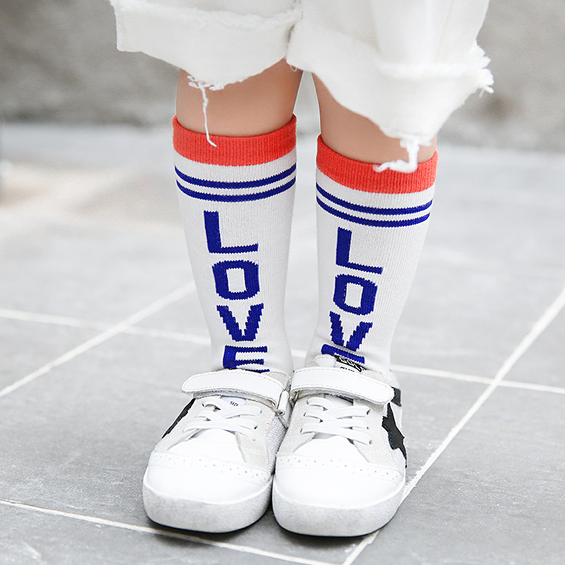 Children boy socks wholesale Autumn letters LOVE cotton sports socks girl child 10pairs