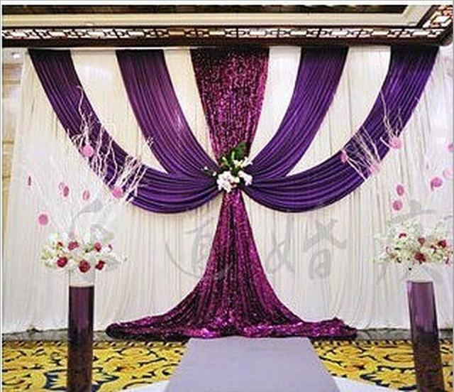 3x6m 10ftx20ft Wedding Backdrop Curtain Dark Purple Sequins Swag