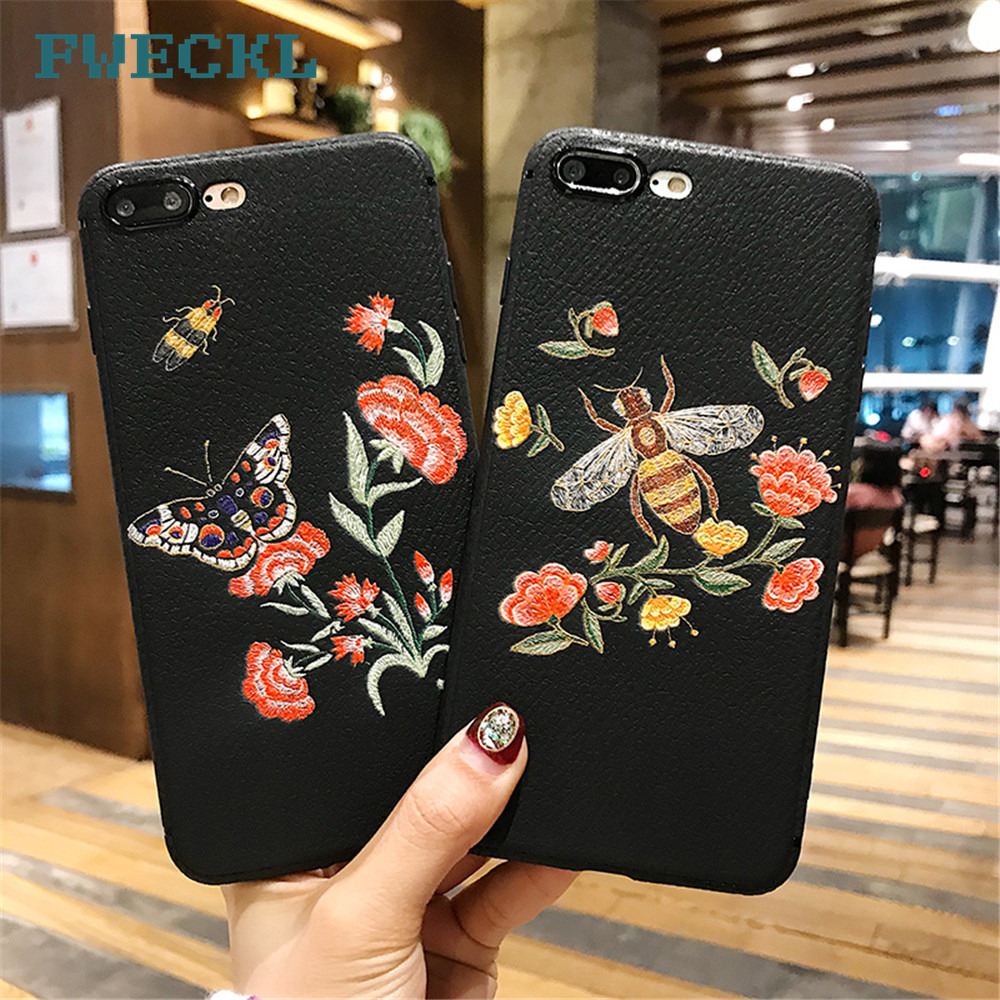 Luxury 3D Flowers Butterfly Bee Embroidery Phone Case For