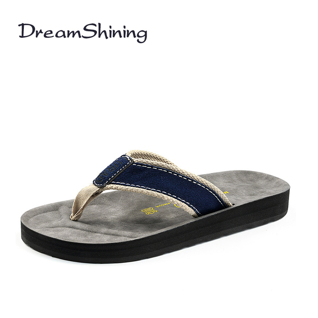 bad4618a15f DreamShining Men Casual Flat Sandals Simple Design Flip Flops Summer Soft Leather  Slippers England Style Sandalias Hombre