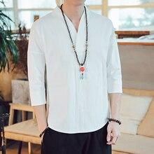 Мужская рубашка в китайском стиле с рукавом 3/4, однотонная Повседневная Уличная Мужская рубашка из хлопка и льна, мужская одежда, льняной топ в китайском стиле